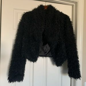 Teddy coat / black crop. Great condition